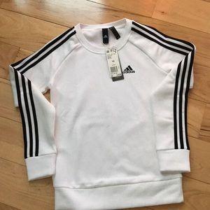 Adidas white and black 3 stripe crew.  NWT